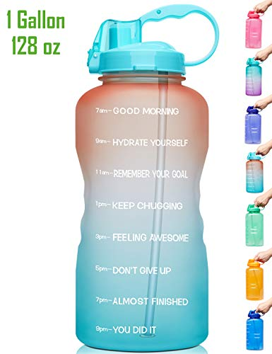 Venture Pal Large 1 Gallon/128 OZ (When Full) Motivational BPA Free Leakproof Water Bottle with Straw & Time Marker Perfect for Fitness Gym Camping Outdoor Sports-Orange/Green Gradient