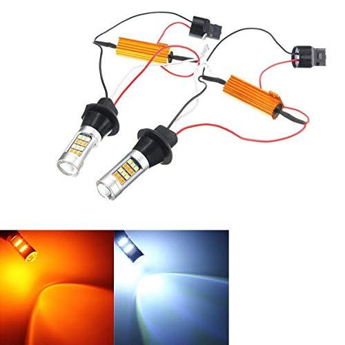 WZhen 12 V 20 W 1000Lm color dual 7440 2835 bombillas LED para luces corrientes diurnas Luz de señal de giro