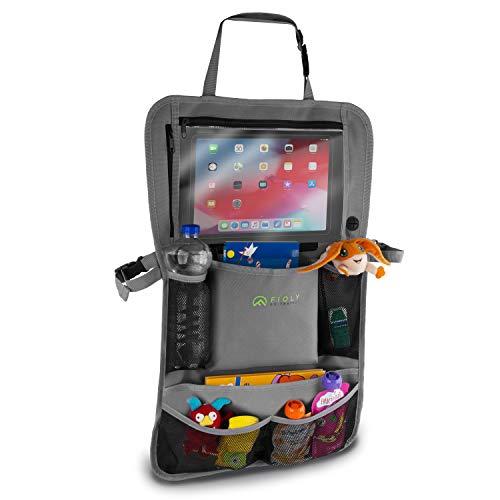 FIOLY Organizador asiento coche niños con compartimento para iPad, protector trasero del asiento del coche, Impermeable, portabotellas, 2 en 1, Innovador bebé almacenamiento para el cochecito