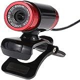 QWER USB 2.0 50 Megapíxeles HD Cámara Web CAM con Micrófono Clip-on 360 Grados para Streaming, Ordenador De Sobremesa Portátil Pc (Negro-Rojo)