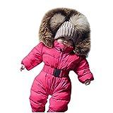 YWLINK Bebé Invierno Caliente Abrigo Cinturón Cintura Abajo Mono Nieve Sólido Acolchado Mameluco Chaqueta Con Capucha Mono Grueso Abrigo Traje