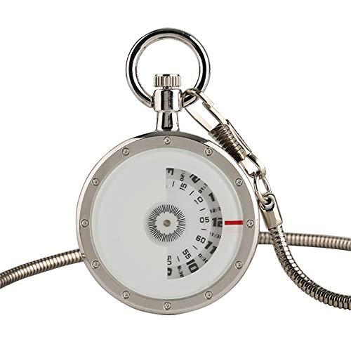DLIUYU zakhorloge creatief zilveren cijfers tijd lezen kwarts zakhorloge met 30 cm ketting geen afdekking design mannen horloges mode horloge accessoires