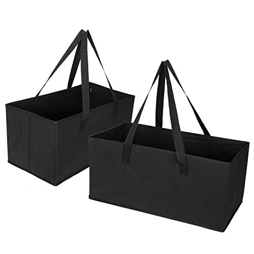 VENO Reusable Grocery Shopping Bags – Trunk Size Extra Large Collapsible Boxes with Reinforced Bottoms, Made of Recycled Material (Pack of 2)