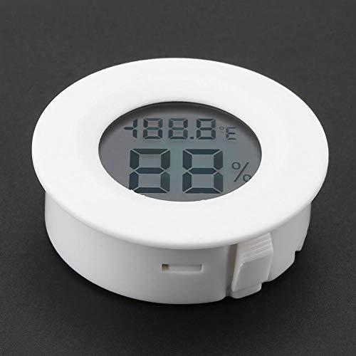 Mini Monitor De Temperatura De Humedad Interior con Term/ómetro Higr/ómetro Digital con Pantalla LCD Grande y Luz De Fondo para Reptiles Blanco