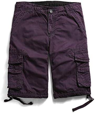 JiuRui Leisure Shorts Straight Pockets Cargo Shorts for Men Boardshorts Military Cotton Trousers 29-40 (Color : Purple, Size : 29)