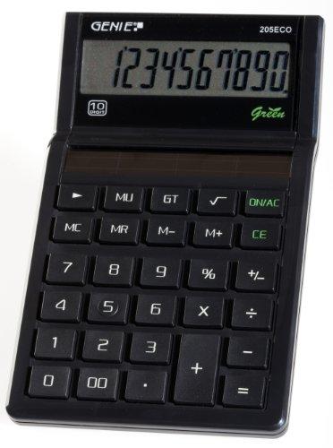 Genie 205 ECO 10-cijferige rekenmachine (Solar-Power, klassiek design, zwart (bekroond met blauwe engel)