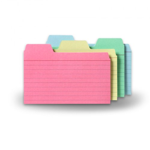 Find-It Tabbed Index Cards, 3 x 5 Inches, Assorted Colors, 48-Pack (FT07216)