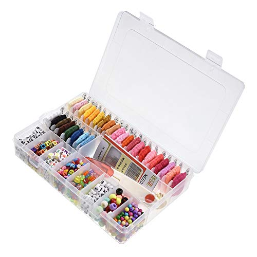 MiOYOOW Embroidery Thread String Kits, 851PCS Colorful Cross Stitch Tool Sewing Needle String Friendship Bracelet DIY with Storage Box
