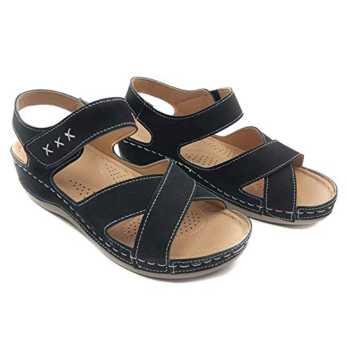 MJYT Women Open Toe PU Leather Walking Shoes Sandals Summer Beach Daily Casual Shoes