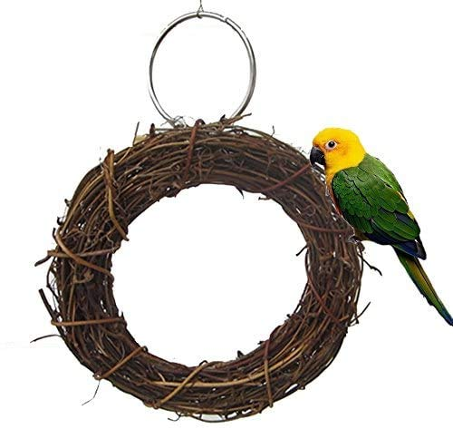 Bird Chew Toy Swing Perch Natural Rattan Hoop Parrot Stand for Parakeet Cockatiel Conure Finch Lorikeet Lovebird Budgie African Grey Caique Canary Cage Accessories