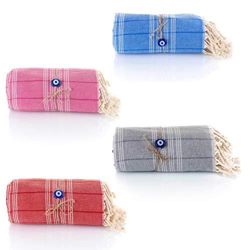 Juego de 4 toallas de hammam turcas Con el Mal de Ojo Pestemal 100% algodón de secado rápido, para el Baño, el Gimnasio y la Playa, 90*180cm,600gr, Fouta para viajar, Spa, Picnic (Rosa/Gris/Azul/Rojo)