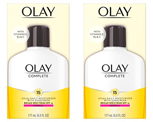Face Moisturizer by Olay Complete Lotion All Day Moisturizer with SPF 15 for Normal Skin, 6 Fl Oz (Pack of 2)