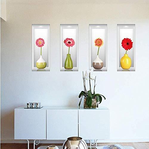 Moderne 3D-Effektsimulation Blume Wandaufkleber Nelke Vase Raumdekoration Aufkleber Wohnzimmer Kunst Aufkleber 120X44Cm