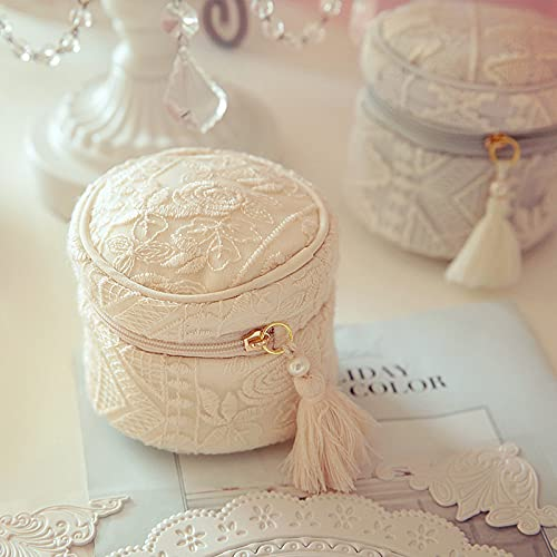 Caja para Joyas,joyero Caja,Caja joyerías,Bolso cosmético de la joyería del bordado de lana hecho a mano,a prueba de polvo Alta capacidad,Jewelry Organizer para Mujer,Pendientes,Pulseras y Collares