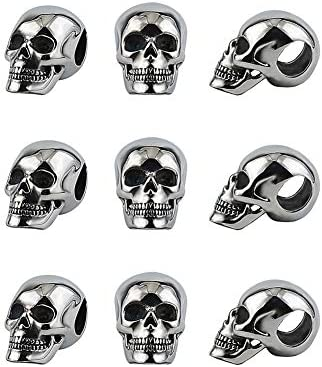UNICRAFTALE 6PCS 7 5mm Large Hole Antique Silver Skull Beads 304 Stainless Steel Charms Halloween product image