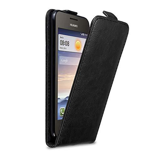 Cadorabo Hülle für Huawei Y330 in Nacht SCHWARZ - Handyhülle im Flip Design mit Magnetverschluss - Case Cover Schutzhülle Etui Tasche Book Klapp Style