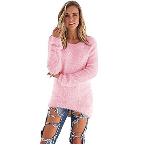 Pullover Damen, GJKK Mode Damen O-Ausschnitt Einfarbig Warm Weich Langarm Pullover Beiläufig Pullover Bluse (Rosa, XXXL)