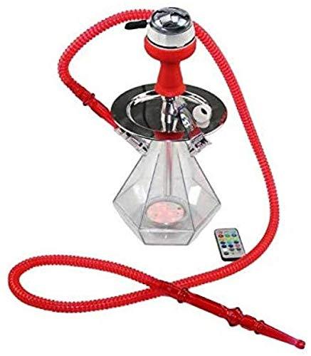 HYDDG Narguile LED-Licht-Set, Wasserpfeife mit Kohle-Haken, Kohleröhrchen, Chicha-Schüssel für Feuerschale – Top Shisha-Wasserpfeife Kit, Acryl-Shisha-Flasche@E, B