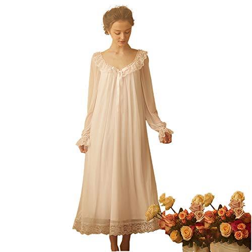 JYCDD Damen Nachthemd Langarm Cotton Lace Satin Nachthemd Vintage Spitze Nachthemd Sexy Pyjama Frauen Langarm Homewear Kleid Mädchen Pink, Weiß XS-XL,Rosa,M