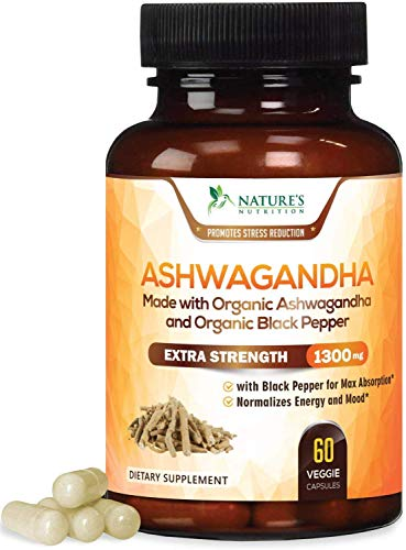 Organic Ashwagandha Capsules Extra Strength Root Powder Extract 1310mg with Black Pepper, Made in USA, Best Vegan Supplement for Stress, Adrenal, Mood & Thyroid Support - 60 Capsules