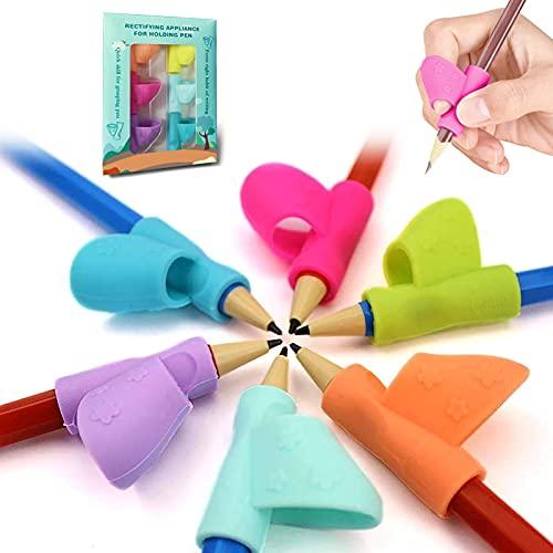 Bicolor-6 Piezas Pencil Grips,Soporte de Lápiz de Niños Herramienta de Corrección de Postura de Escritura para Lápices