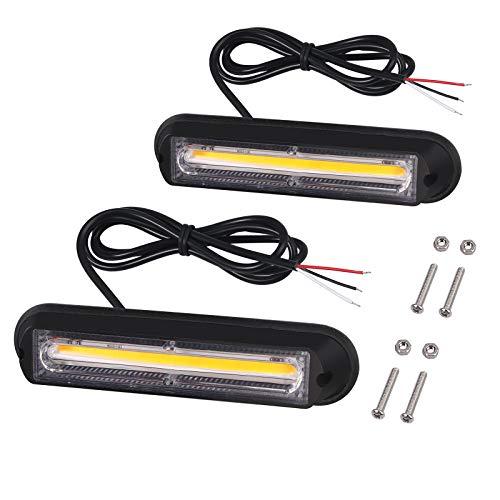 Justech 2PCS 13CM COB Luces de Emergencia para vehículos 12V 24V Luz de Advertencia de Peligro Ámbar Luces de Estroboscópica con Encendedor de Cigarrillos para Camiones Remolque Caravanas Tractores