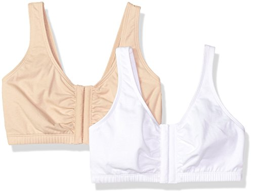 Fruit of the Loom Women's Front Close Builtup Sports Bra, Sand/White 2-Pack, 44