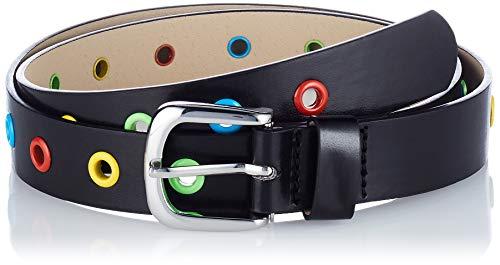 Playshoes Gürtel mit Bunten Nieten Cinturón, Negro, 80 cm Unisex niños