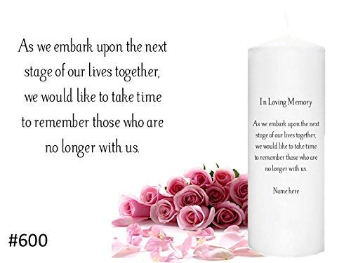 In Memorial Candle for weddings Memory Candle to honor a loved one at your Wedding