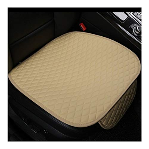 LQW HOME Auto Chair Cushion Universal Leather Front Car Seat Cover Cushion Four Seasons Waterproof Storage General Anti Slip Seat Protector Interior Skid resistance (Color : Beige)