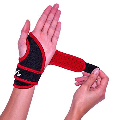Handgelenk-Bandage mit Daumenoese und Klettverschluss zur Stabilisierung und Schmerzlinderung Schwarz-Rot