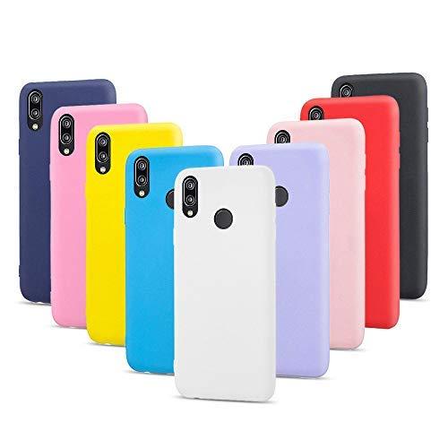 9X Fundas para Huawei P20 Lite, Carcasas Flexible Suave TPU Silicona Ultra Delgado Protección Caso(Rojo + Rosa Claro + Púrpura + Amarillo + Rosa Oscuro + Verde + Negro + Azul Oscuro)