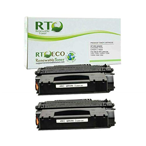 Renewable Toner Compatible Toner Cartridge High Yield Replacement for HP 49X Q5949X 1320 1320n 1320nw 1320t 1320tn 3390 3392 (Black, 2-Pack)