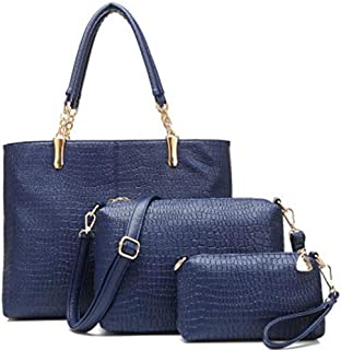Tote Bag with 2 Pouch Set for Women - Blue