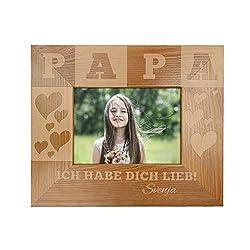 Casa Vivente Bilderrahmen mit Gravur für Papa, Motiv Herzen, Personalisiert mit Namen, Rahmen aus Holz, Vatertagsgeschenk