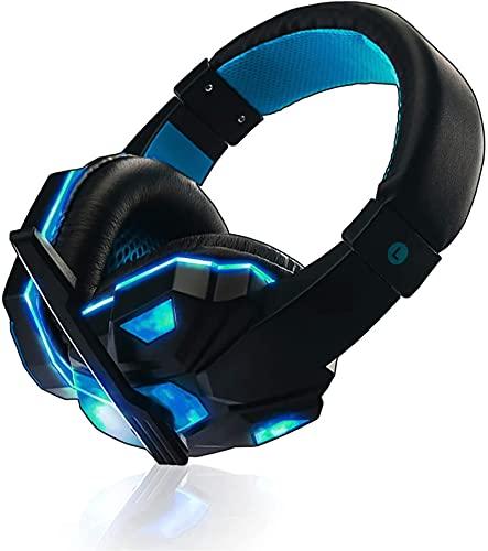 Auriculares de reducción de ruido inteligente con cabeza.Auriculares de juego con cable, Montado en la cabeza con micrófono de reducción de ruido giratoria y luz LED para PS4, Xbox, Nintendo Switch, P