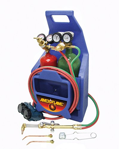Ameriflame TI100AT Medium Duty Portable Welding/Cutting/Brazing Outfit with Plastic Carrying Stand Plus Oxygen and Acetylene Tanks