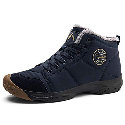 UPSOLO Mens Winter Trekking Snow Boots Water Resistant, Navy Blue, Size 9.5
