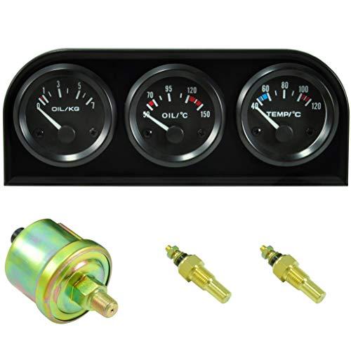 Instrumentenhalter 52mm 3-Fach mit Instrumenten - Öltemperatur, Kühlmitteltemperatur, Öldruck