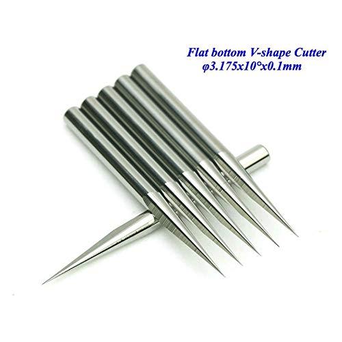 Txrh Holzbe- und Zubehör 10 PC/Los 3.175mm 10 Grad 0.1mm Fräser mit flachem Boden Schneidewerkzeug Bits V-Form-Karbid-Stich-Werkzeuge