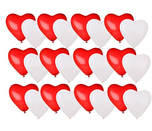 TK Gruppe Timo Klingler 50x XXL Herzluftballons Helium geeignet Ø 40 cm Luftballons Herz Herzballon rot & weiß als Deko für Sie & Ihn Hochzeit & Valentinstag (50x Herzluftballons)