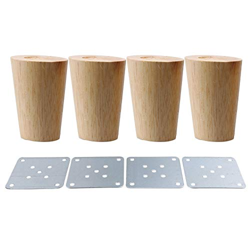 80x58x38mm Cone Material de madera Sofá Silla Cama Armario Mesa de té TV Gabinete Muebles de madera Patas de repuesto Pack de 4