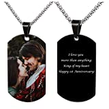 Fanery Sue Personalized Photo Necklace Custom Picture Military Dog Tag Customize Text Engrave Name Necklace(Full Color Picture-Black Dog tag)