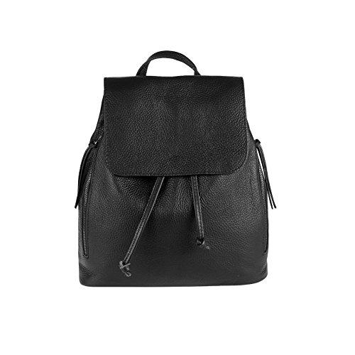 OBC Made IN Italy Damen Echt Leder Rucksack Cityrucksack Lederrucksack Tasche Schultertasche Ledertasche Stadtrucksack Handtasche Daypacks Backpack Schwarz