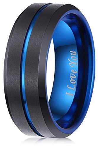 8mm Black Tungsten Carbide Wedding Band Blue Engagement Ring Men Women...