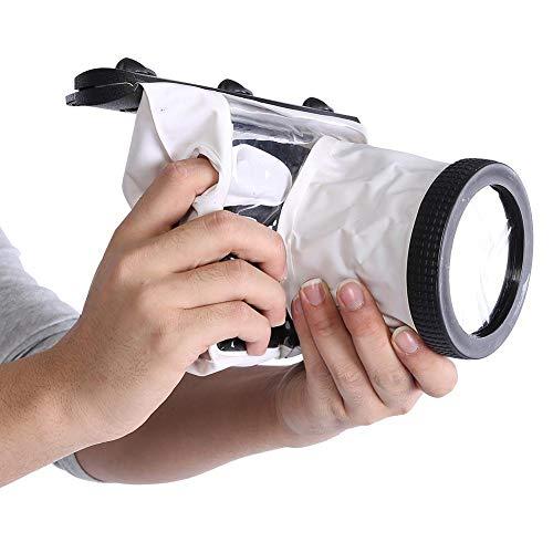 Diyeeni Unterwassergehäuse für DSLR-Kameras, Unterwasserkameragehäuse, staubdichte Tasche für Digitale Spiegelreflexkameras(Weiß)