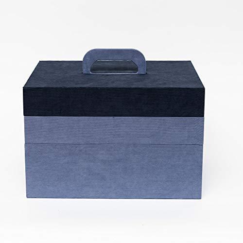 Creations opbergdoos met 3 niveaus, met draaggreep, 28 x 35 x 23 cm, blauw