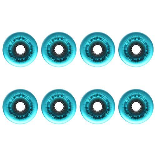 SSCYHT 8 Stück LED Leucht Rollen für Inliner 72 mm / 76 mm / 80 mm 92A Leuchtendes Ersatzrader für Draussen und Innen Skaten,Blau,80mm