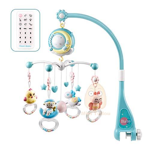XKMY Juguetes educativos para bebés Sonajeros para cuna y móviles, soporte giratorio para cama móvil, caja musical de proyección de 0 a 12 meses para recién nacidos, juguetes para bebés (color: azul)