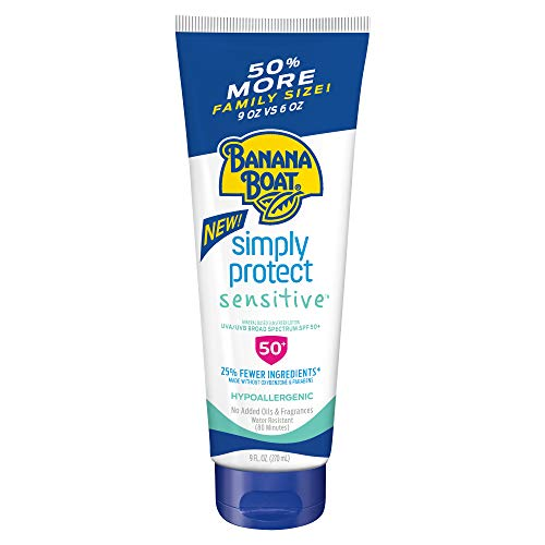 Banana Boat Simply Protect Sensitive Reef Friendly Sunscreen Lotion, Broad Spectrum SPF 50, 25% Fewer Ingredients, 9 Fl Oz